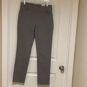 Light gray stretch fabric slacks from Chico's.